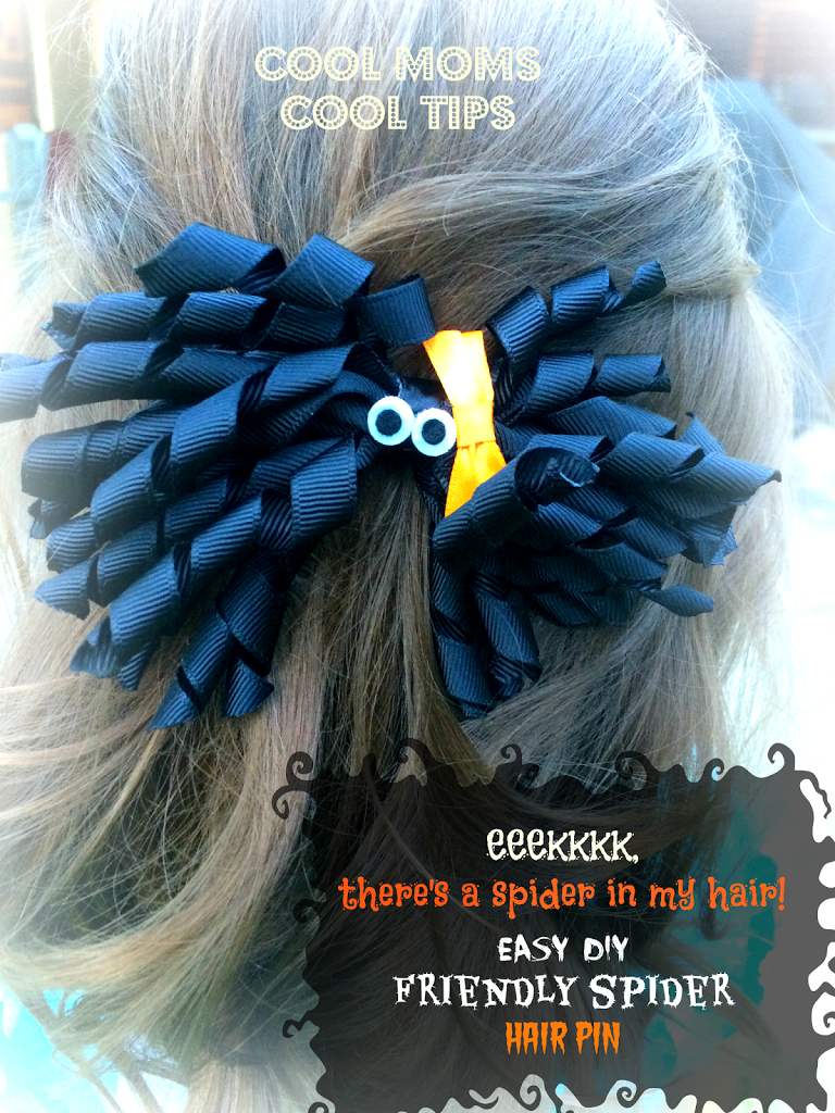 cool moms cool tips DIY Halloween easy friendly spider hair pin