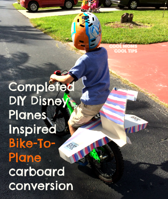cool moms cool tips DIY bike to plane cardboard craft  #ad #planestotherescue #collectivebias