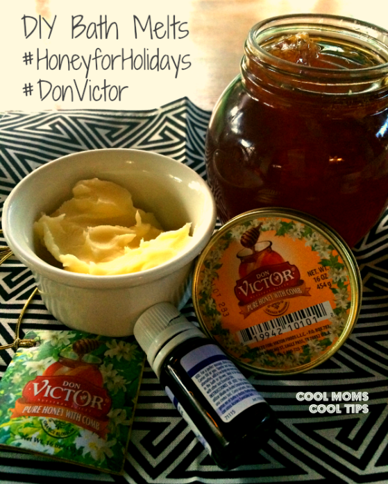 cool moms cool tips #HoneyforHolidays #DonVictor #ad ingredients for DIY bath melts