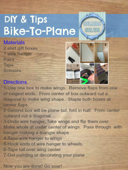 cool moms cool tips bike to plane cardboard disney planes inspired craft #ad #planestotherescue #collectivebias steps