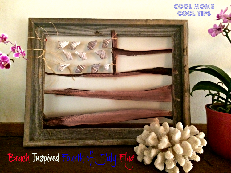 beach-inspired-4th-july-flag-cool-moms-cool-tips on mantel