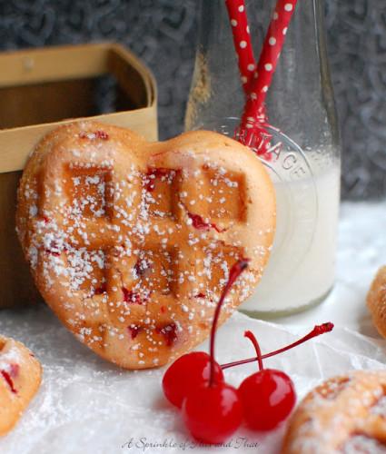 Maraschino Cherry Muffin Waffles