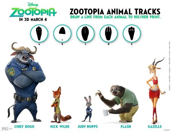 Zootopia Activity Sheets