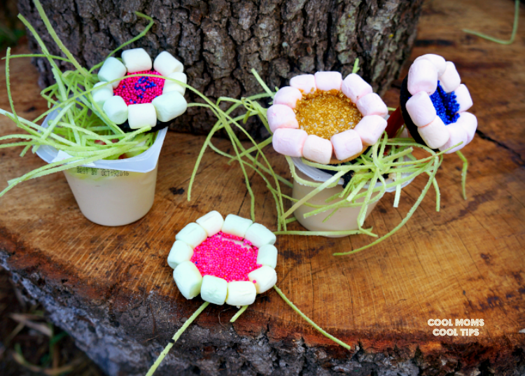 edible flower pudding cups cool moms cool tips #ad #spoonfuloffun