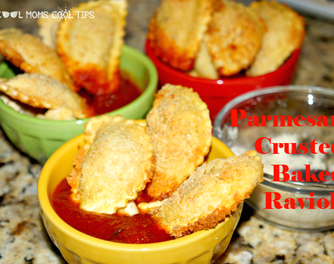 Parmesan Crusted Baked Ravioli in Homestyle Tomato Sauce