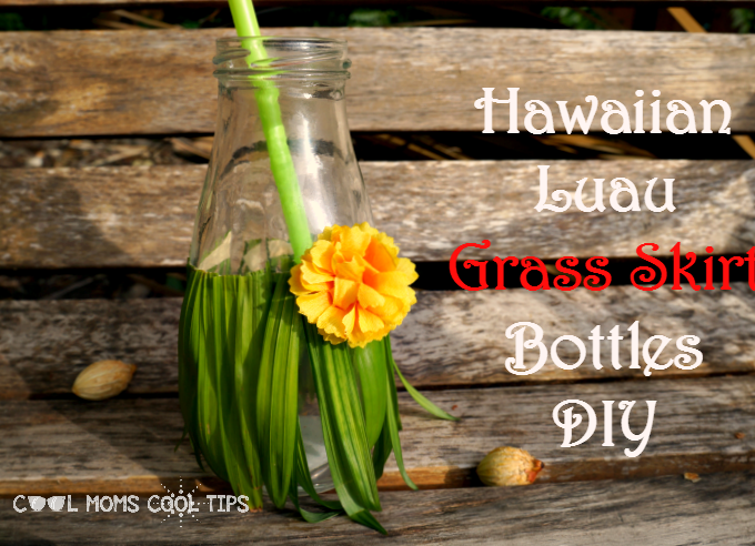 Hawaiian Luau Grass Skirt Bottles DIY Inspired By Disney's Moana