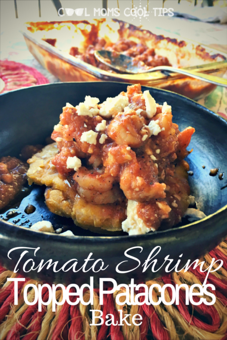 Do you have an amazing seafood dish with some latin flare? try this amazing tomato shrimp bake topped patacones as a main dish or appetizer. it is way too delicious