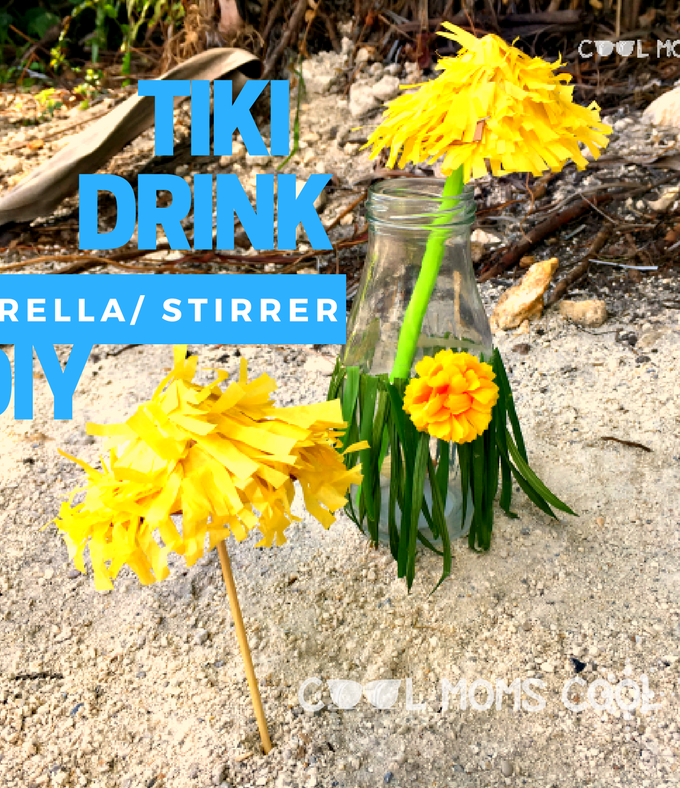 Moana Inspired Tiki Drink Umbrella DIY #Moana #Moanabluray