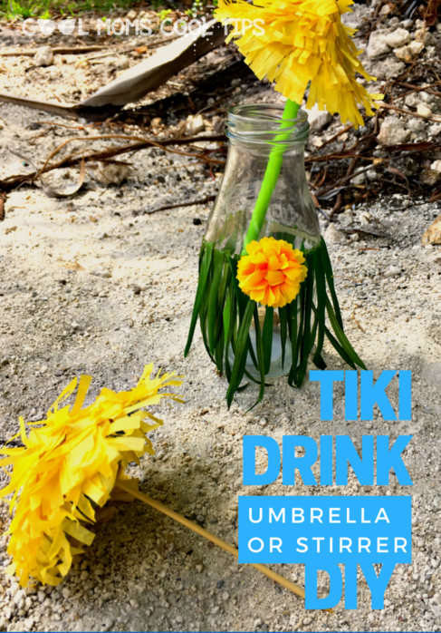time for fun under the sun while sipping on a glass deocrated with awesomesy and fun tiki drink umbrella or stirrer DIY.