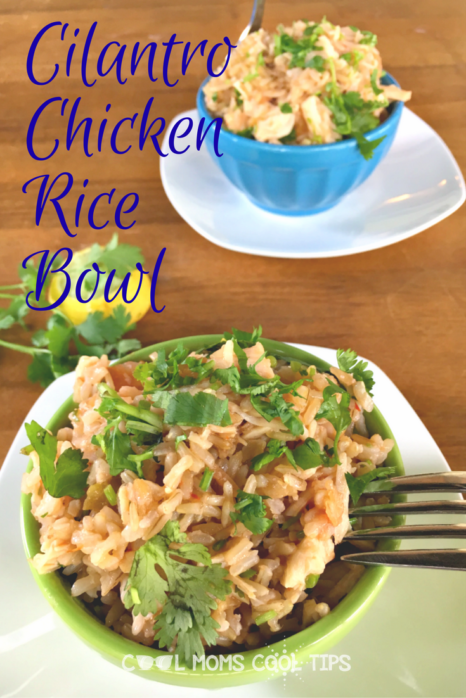 need a one pot delicious rice meal? try this amazing and quick to make cilantro chicken rice bowl!
