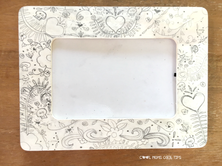 pencil work for day of the dead photo frame DIY cool moms cool tips