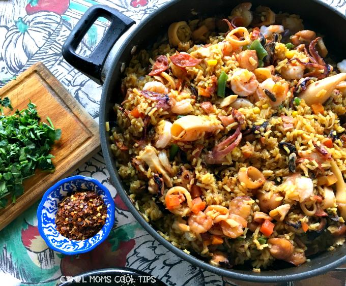 Fast Seafood Paella Recipe.