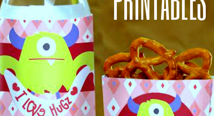 Valentine's Day Free Printables: Monster Bottle Labels and Treat Box Printables