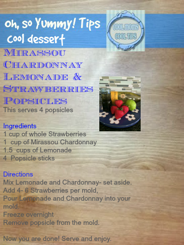 cool moms cool tips Mirassou popsicle strawberry tarty recipe