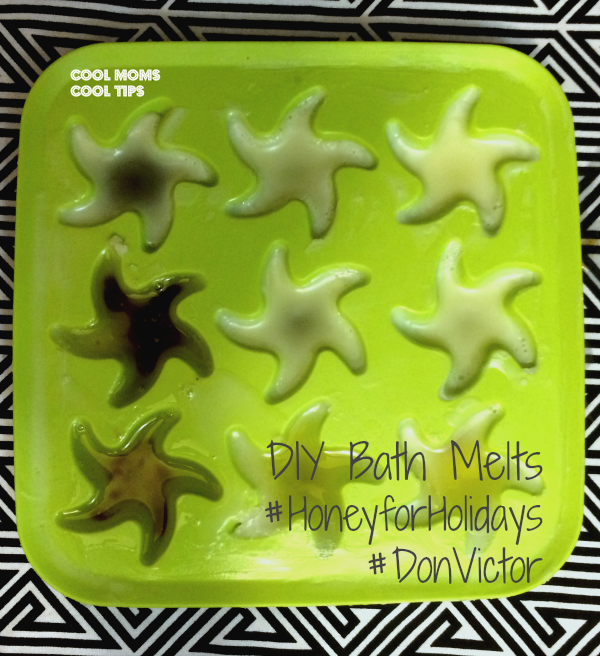 cool moms cool tips #HoneyforHolidays #DonVictor #ad DIY Bath Melts in mold