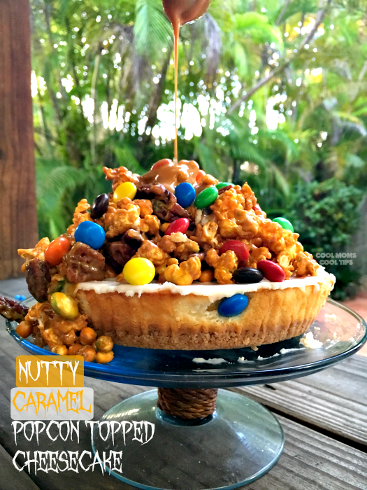 nutty-caramel-popcorn-topped-cheesecake-recipe-cool-moms-cool-tips #makeitamovienight #ad 2