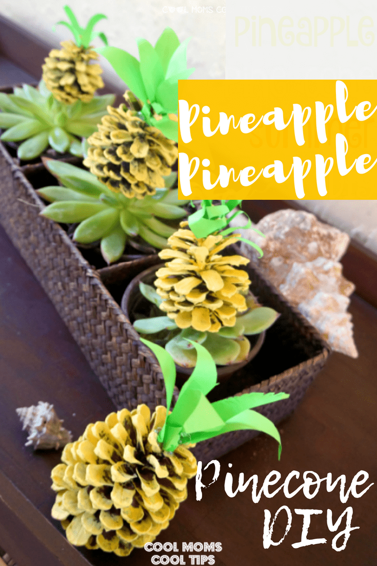 Need some pineapple fun ideas? We have the craft for you! Perfect for Hawaiian luau's, themed parties or for a fun activity with the kids! Make easy pineapple pinecones diy