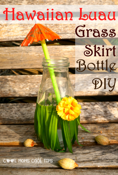 adorable-hawaiian-luau-grass-skirt-bottles-diy-perfect for beach, moana, finding dory or lilo and sticth celebrations- It is easy and fun to make plus a great conversational piece for your party! cool-moms-cool-tips