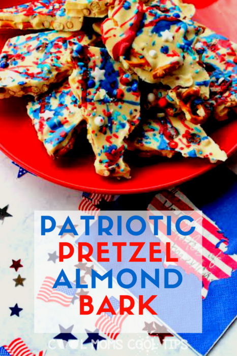 looking for a great fourth of july dessert recipe? need a patriotic dessert? spend no time in the kitchen and make this delicious pretzel alnond bark for fireworks at the dessert table!