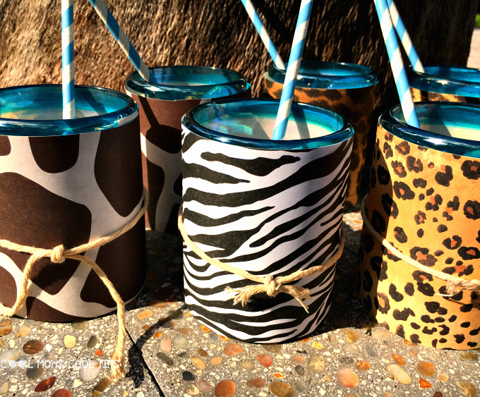 Safari cups DIY for animal themed parties cool moms cool tips