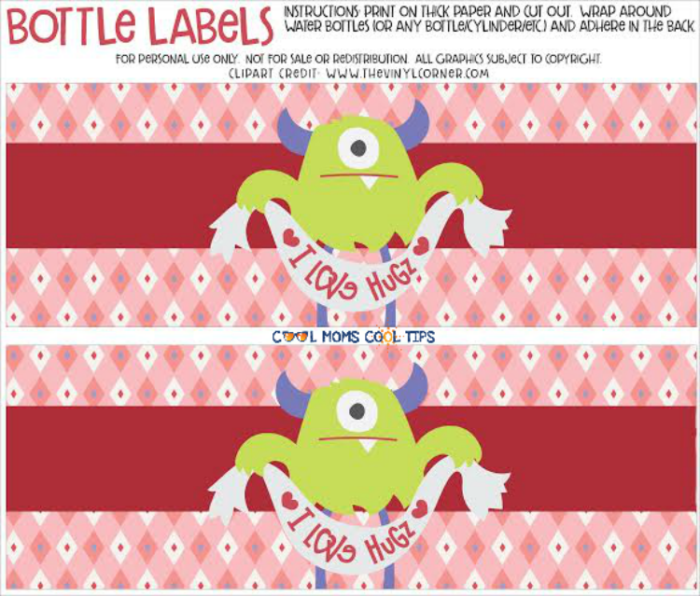 valentine monster water bottle label free printable
