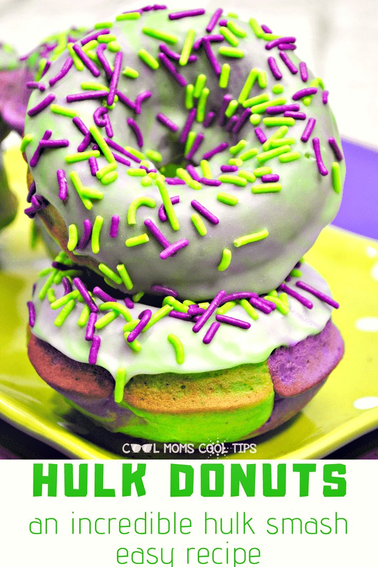 Need a superhero treat? Having an Avengers party? You are going to Hulk smash it with the easy Hulk Donuts! Use this recipe for all your Marvel celebrations! Perfect for after-school treats or themed parties.