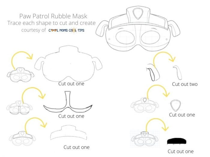 Paw Patrol Rubble Mask pieces